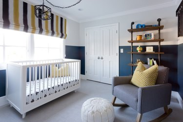 industrial pipe shelving mounted bookcase in nursery