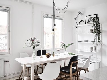 Scandinavian dining room mix and match dining chairs