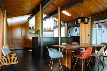 dining room mix and match Eames dining chairs