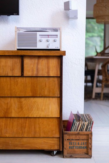 Vintage dresser and vinyl.