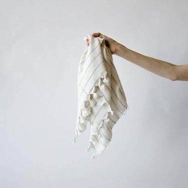 Turkish hand towel with tassel fringe