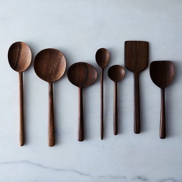 walnut wooden spoons in bohemian kitchen