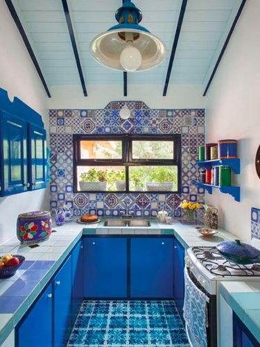 blue tile countertop