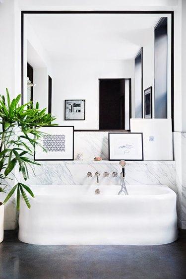 A stark black and white bathroom