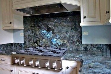 labradorite granite kitchen countertop and backsplash