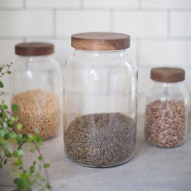 walnut lid storage jar