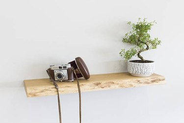 live edge wood floating shelf
