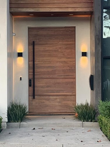 modern exterior door wood with long black door handle