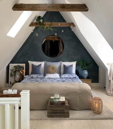 rustic attic bedroom lighting ideas wrapped around beams