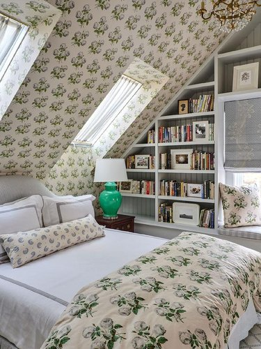 attic skylight designs in attic with wallpaper and patterned bedding