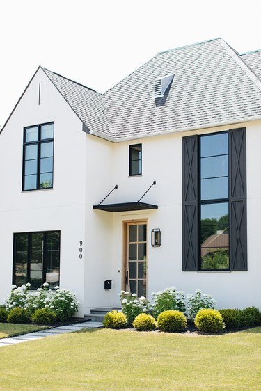 black and white exterior modern farmhouse