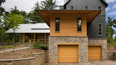 Contemporary home with board and batten exterior