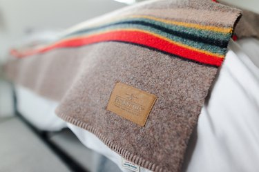 Close-up of wool Pendleton blanket on bed