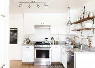 contemporary small kitchen design idea with white cabinets