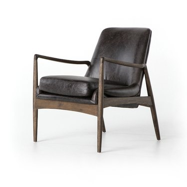 Industrial furniture, Industrial Home leather chair with black leather and midcentury wood details
