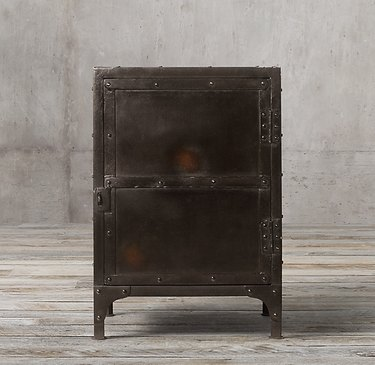 Industrial furniture, Restoration Hardware side table with tool chest details