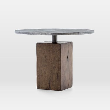 Industrial furniture, West Elm dining table with wood base and aluminum top