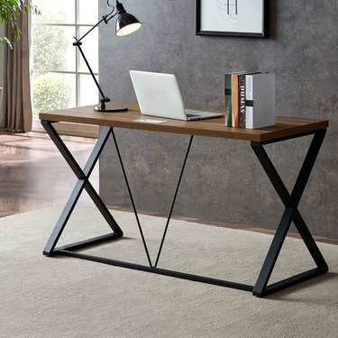 Industrial furniture, DYH home office desk with x-shaped legs and wood top