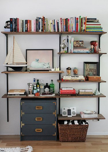 reclaimed wood DIY industrial bookshelf