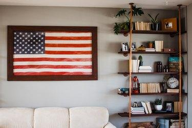 walnut and copper DIY industrial bookshelf