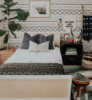 pattern play in boho tribal bedroom
