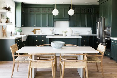 forest green cabinet kitchen color trend in 2019 with island and pendant lighting