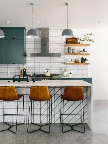 Midcentury modern chairs in a modern kitchen