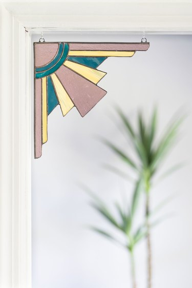 art deco stained glass corner hanging