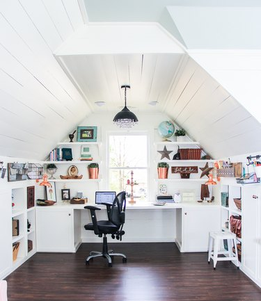 white attic office idea with crystal pendant light hanging above desk