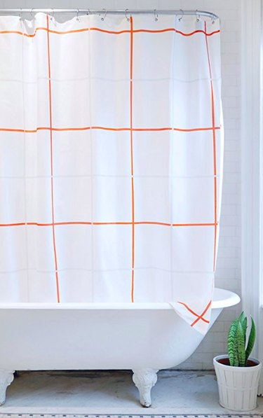Gray and orange square shower curtain