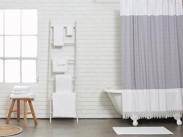 Tasseled shower curtain
