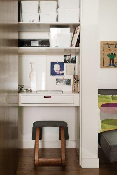 Small desk area built into a closet