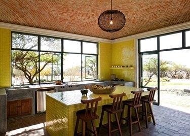 yellow zellige tile countertop
