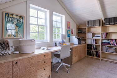 Home office with wood built-ins