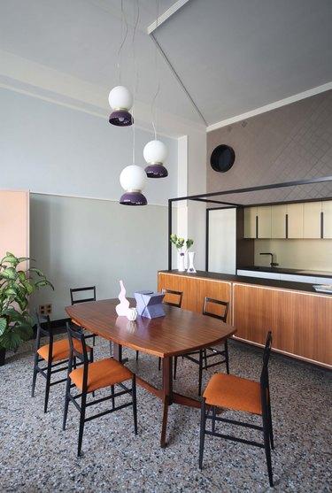 open concept kitchen terrazzo floors