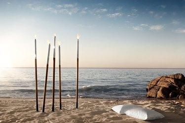 outdoor torch on a beach