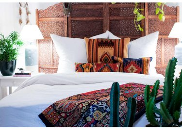 bohemian bedroom with colors and patterns