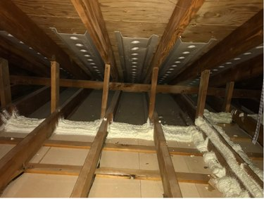 Spray foam insulation in the attic.