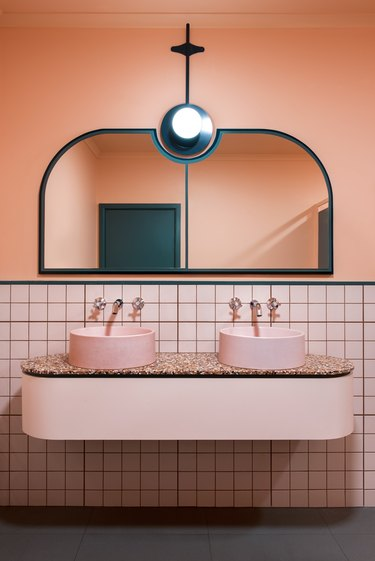 pink floating master bathroom vanity in modern bathroom