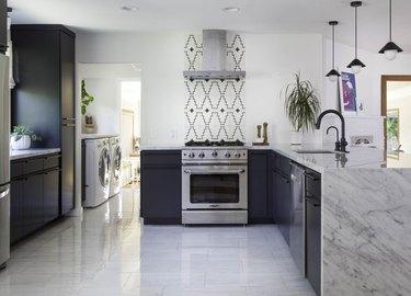 modern kitchen backsplash with global inspired-tile