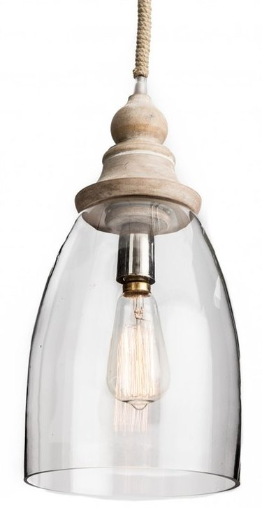 Conical Clear Glass Pendant with Wood Finial
