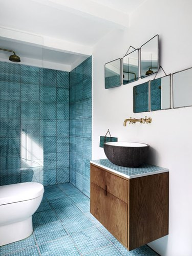 turquoise alcove shower