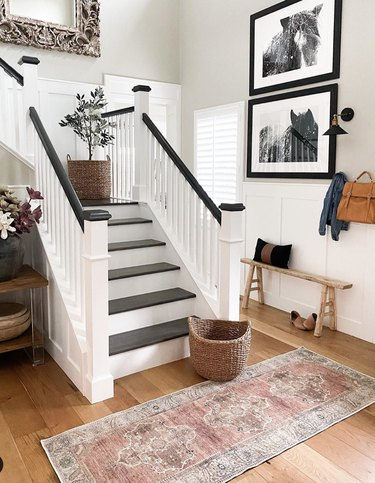 traditional black and white stairs with traditional details