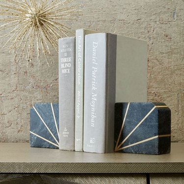 brass and stone bookends