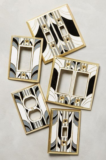 art deco style light switch plates