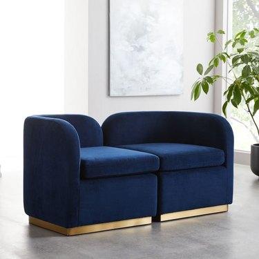 blue velvet art deco sofa