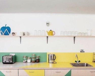 Color-blocked kitchen