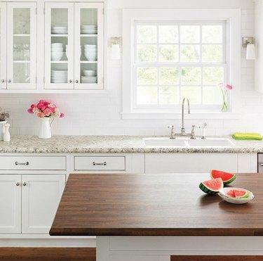 wood and granite kitchen