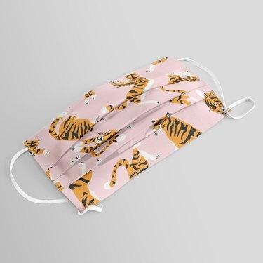 pink tiger patterned face mask