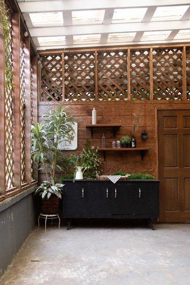 The enclosed patio.